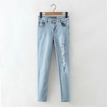 Women's Fashion Summer Pants Handcrafts Weathered Ripped Holes Jeans Skinny Pants [4920286148]