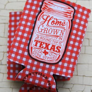 HOMEGROWN GINGHAM CAN COOLER - Junk GYpSy co.