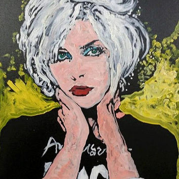 Pop Art Painting Debbie Harry of Blondie 16x20 Punk Rock Art Music Wall Art Music Decor Original Oil Painting by Matt Pecson