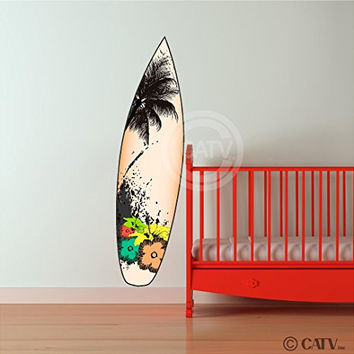 Surfboard vinyl lettering decal home decor wall art saying