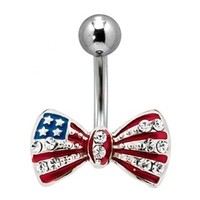 American Flag Bow Belly Button Ring