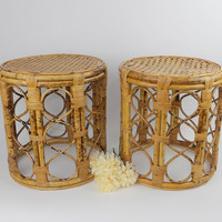 Rattan Wicker Seagrass Tables Pair Franco Albini STYLE Mid Century Modern Side End Night Stands Coffee Display Drum Tables Round Set Office