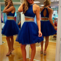 Homecoming Dress,Blue Casual Two Pieces Scoop Lace Sleeveless Short Prom Dress