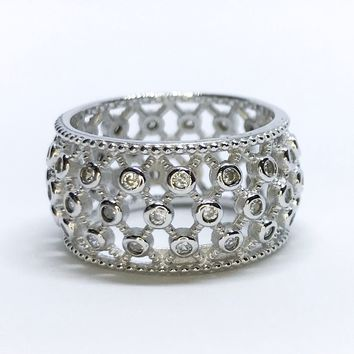NEW 14K White Gold Layered Sterling Silver Criss Cross Pattern with Stones Ring