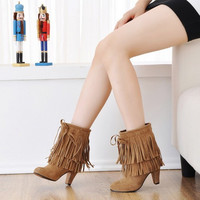 Suede Fringe Pointed Toe Cowboy Ankle Boots with Tassels up to Size 16 (28.5cm)