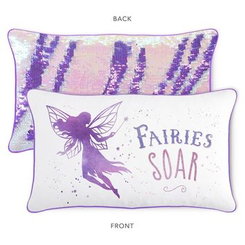 SOAR Fairy Pillow w/ Reversible Lavender Purple & Iridescent Sequins (Cover + Insert)