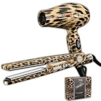 Nano Titantium Babyliss Pro Travel Dryer & Straigtener Leopard Gift Kit in Designer Reusable Box: Beauty