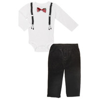 Koala Baby Boys' 2 Piece Long Sleeve Suspenders Bodysuit and Pants Set - White/Black