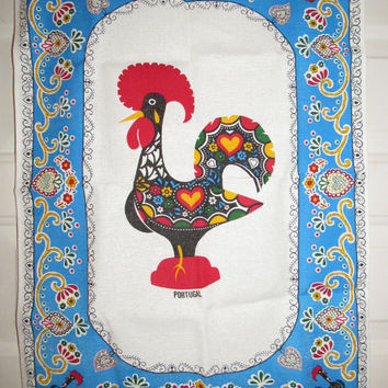 Vintage Linen Tea Towel / Large Portugal Gift Kitchen Decor / Mid century Kitch Rooster Towel Portuguese Collectible