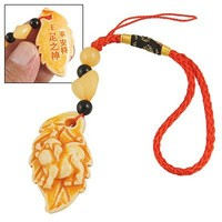 Gino Cell Phone Yellow Leaf Pendant Knitted Nylon Hand Strap Red