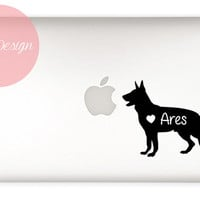 German Shepherd Decal- customizable name - macbook, laptop, iphone, ipad, car window - custom size and color - dog sticker  - pet lover