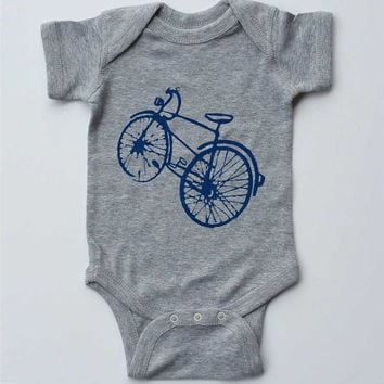 "Baby Onesuit-""Blue Bicycle"" -Baby Boy Outfit-Grey Onesuit bodysuit-Baby Boy gift"