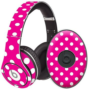 White Polka Dot on Hot Pink Skin  for the Beats Studio Headphones & Case by skinzy.com
