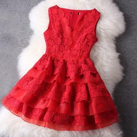 Red Lace Dress #109