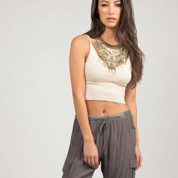 Knit Cropped Cami - Cream