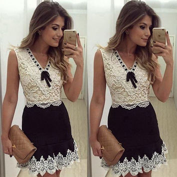V-neck Sleeveless Patchwork Lace Trim Lace Tank Dress