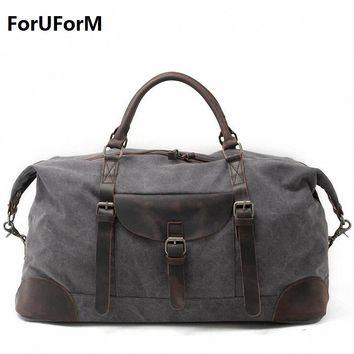 2017 New Vintage Men Canvas handbag High Quality Travel Bags Large Capacity Women Luggage Travel Duffle Bags Folding Bag LI-1862
