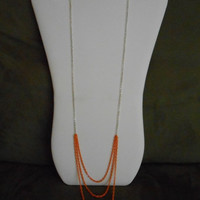 SALE 36 inch long Silver and Orange Triple Chain Necklace