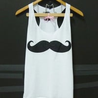 Mustache tank top Women tops teen girls clothing size XS small cute shirt, singlet crop top shirt blouse sleeveless tunic