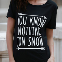 "Black ""YOU KNOW NOTHING JON SNOW"" T-Shirt"