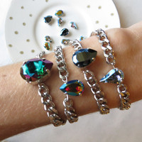 Mirrored Collection - Swarovski Pear Shape Crystal Chain Bracelets - Layering jewelry