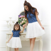 Adorable Mommy & Me Mother Daughter Matching Polkadot Dress with Tulle Skirt