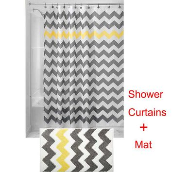 1SET180x180CM Water-Repellent Fabric Shower Curtains Liners+50x80CM Microfiber Bathroom Shower Accent Rugs Bath Flocking Mat Rug