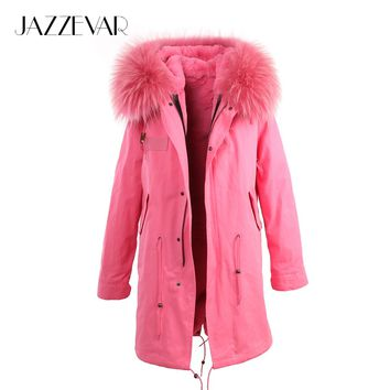 Women's cute pink faux fur lined parkas with raccoon fur collar hooded coat Military winter jackets