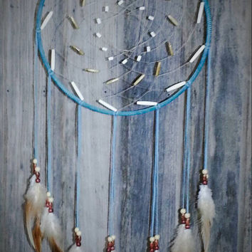 Buffalo Bone Dreamcatcher-Native American Dream Catcher- Turquoise Leather Dreamcatcher