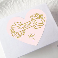 Blush & Gold Wedding Place Card Stickers, Valentine Heart Labels, Printed Escort Cards, Placement Seating, Pink Favor Seals, Set of 15