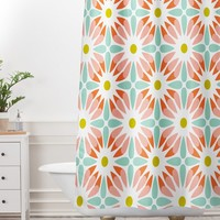 Heather Dutton Crazy Daisy Sorbet Shower Curtain And Mat