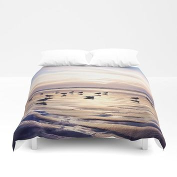 dusk on the beach Duvet Cover by sylviacookphotography