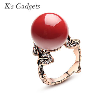 Natural Coral Stone Ring Red Coral Ring Antique Silver Rose Gold Ring With Natural Stone Classic Women Zircon Rubi