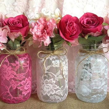 3 lace covered mason jar vases pink, hot pink, white, wedding decoration, bridal shower decor, home decor, Christmas gift