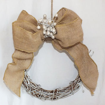 Burlap pew bow or burlap pew wreath a rustic wedding decoration