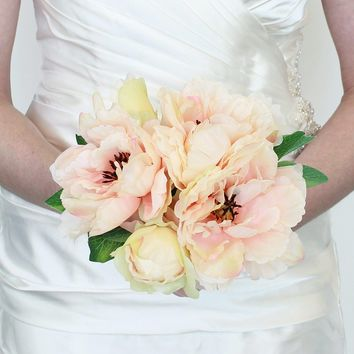 "Peony Silk Wedding Bouquet in Peach10"" Tall"