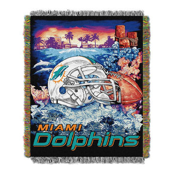 Miami Dolphins NFL Woven Tapestry Throw (Home Field Advantage) (48x60)