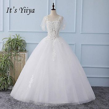 It's YiiYa Shawl Illusion Short Sleeves Backless Wedding Dress Appliques Bride Wedding Gown Vestidos De Novia Casamento XL626