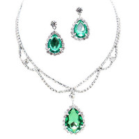 Sage Green Statement Teardrop Bridal Bridesmaid Necklace Earring Set Silver Tone C5