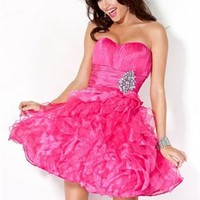 Strapless red tulle short gorgeous Prom Dresses 2012 PDM390
