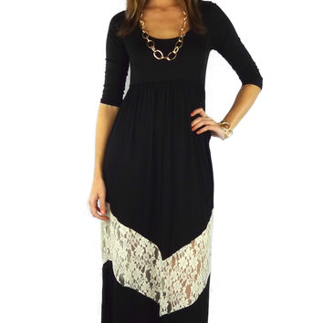 Three-Quarter Sleeve Lace Chevron Stripe Maxi Dress - Black/Ivory | .H.C.B.