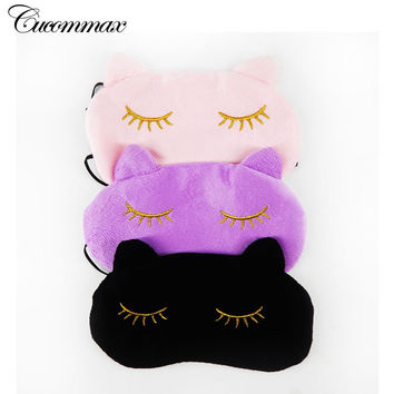 Cucommax Cute Cat Sleeping Eye Mask Nap Cartoon Eye Shade Sleep Mask Black Mask Bandage on Eyes for Sleeping-MSK03