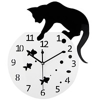 Big 3D Acrylic Wall Clock Cat and Fish Design - Quartz