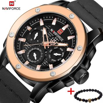 Watches men NAVIFORCE brand Quartz watch Leather Fashion Casual reloj hombre Army Military Sport wristwatch relogio masculino