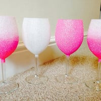 Set of 4 Ombre Glitter Glasses In Your Colour Choice- SPECIAL OFFER