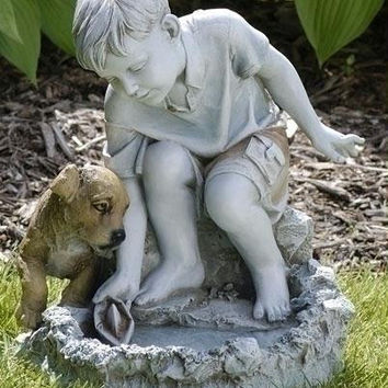 Bird Bath Garden Statue - Statue Depicts A Boy Playing With A Sailboat As His Faithful Puppy Dog Watches Over Him.