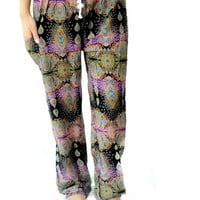 aladdin  dark mix color Long Pants - yoga pants boho harem pants  design one size fits elastic waist ankle green for unisex