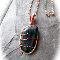 Falcon's Eye Necklace, Wire Wrapped and Hammered Copper on Blue Tiger Eye Gemstone, Unisex Jewellery, Dark Blue Gemstone Wire Weave
