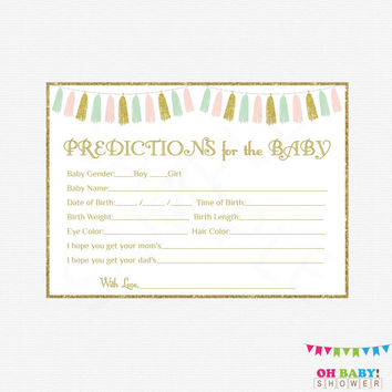 Pink Mint Gold Baby Shower, Predictions for Baby, Baby Predictions, Pink Mint Gold Baby Shower Activity, Printables, Girl, Tassels TASPMG