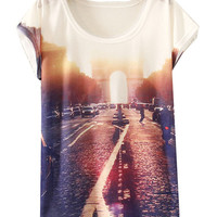 White Short Sleeve Traffic Print T-Shirt